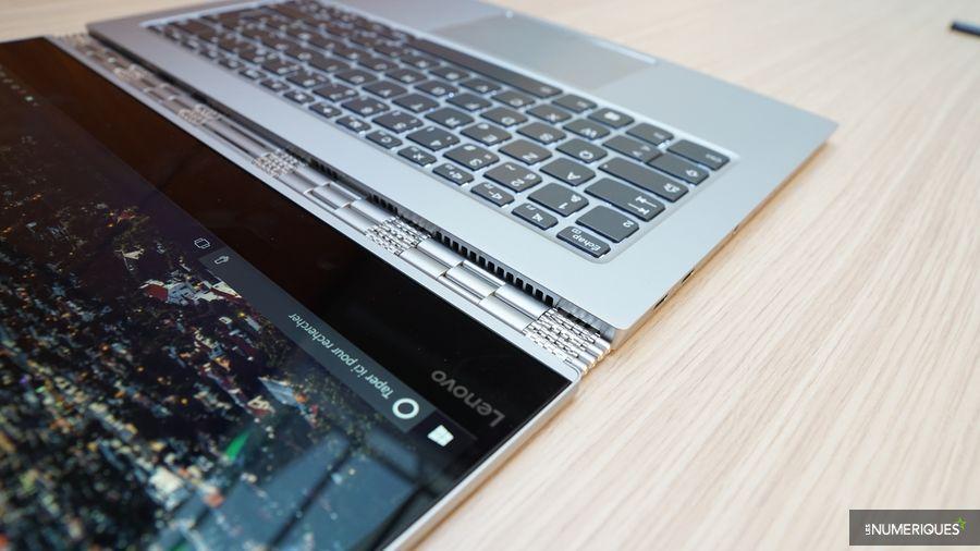 Test PC ultraportable Lenovo Yoga 920, détail, charnière et zone clavier