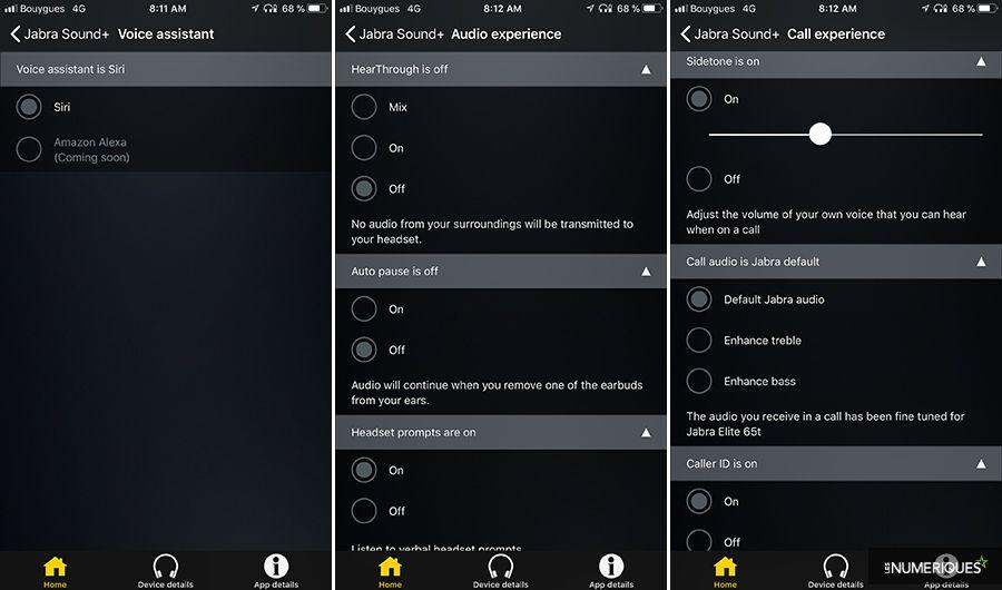 Test des intras wirefree Jabra Elite 65t, application Jabra Sound+, capture d'écran
