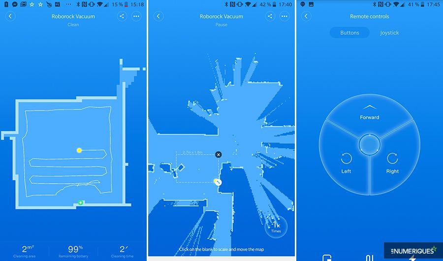 Application MI Home for Roborock Vacuum, exemples de cartographie et boutons de pilotage à distance (captures d'écran)