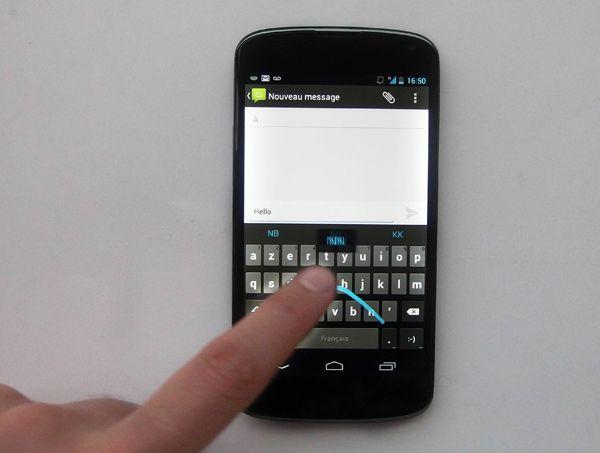 Nexus 4 -saisie des messages