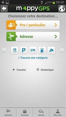 Mappy GPS Free Menu 01