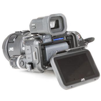 JVC GC-PX100 test review vue carte batterie et écran inclinable