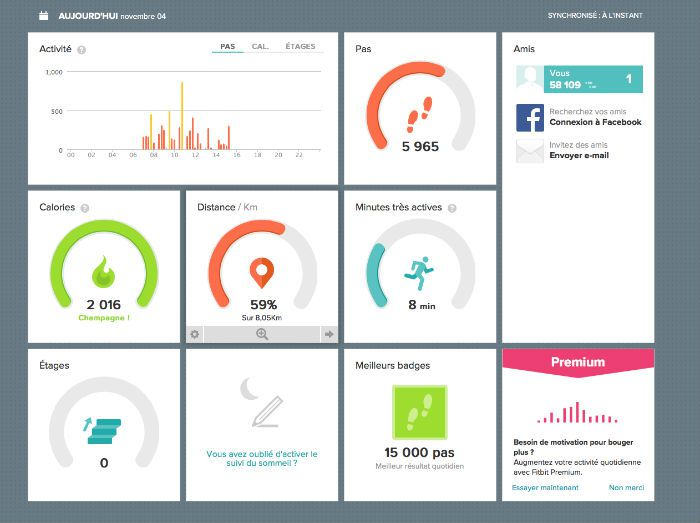 Fitbit Flex tableau de bordNums