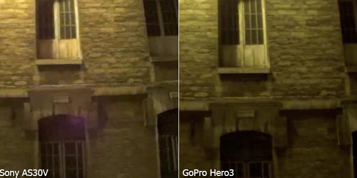 Sony AS30v test review comparaison gopro hero3 nuit