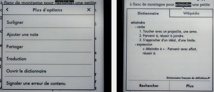 Parametres text Kindle