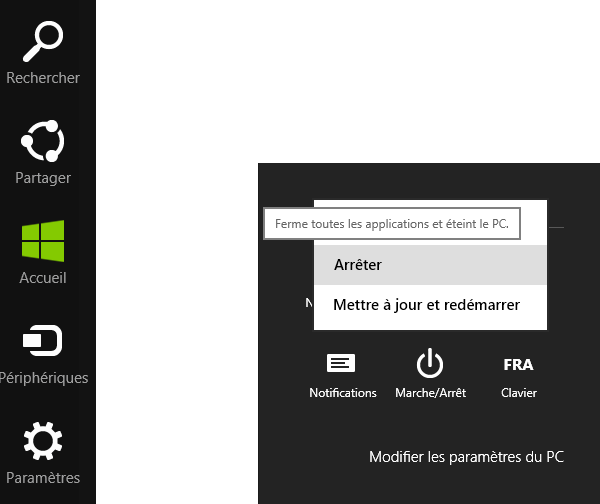 Eteindre windows 8